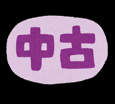 「中古」のイラスト文字