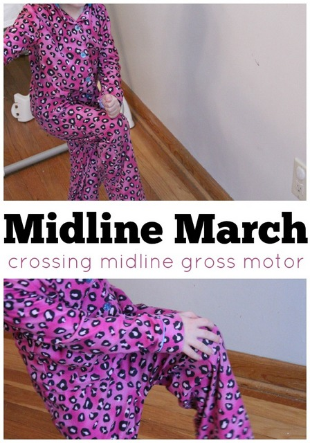 Midline march. Crossing midline gross motor activity to help with handwriting, and bilateral hand coordination skill.