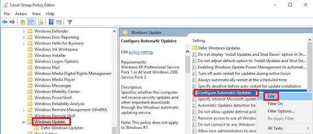 Configure Automatic Update Windows 10