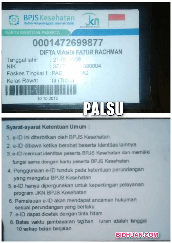 KARTU BPJS PALSU
