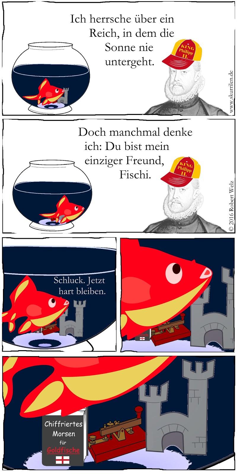 Comedy skurril im schrägen Collage Comic. Ein Goldfisch als Spion am Hofe des spanischen Monarchen Philipp II?