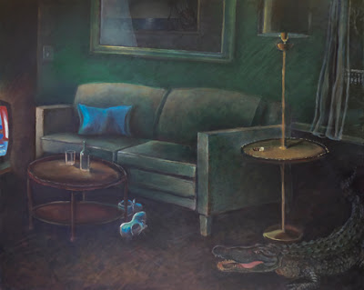 green painting with couch and alligator