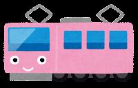電車のキャラクターのイラスト(ピンク)