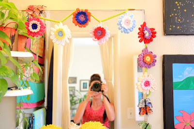 Crochet flower garland.
