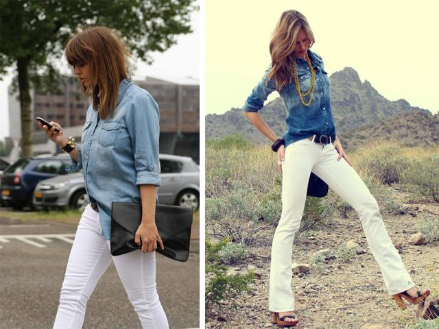 chemise en jeans + pantalon blanc