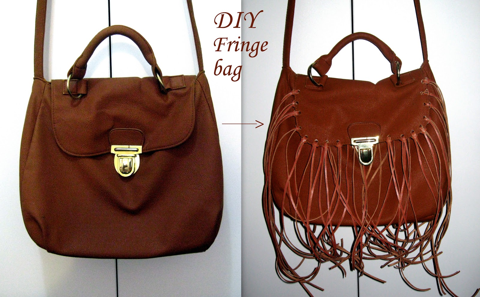 DIY, diy fringe bag, diy fringe cross body bag, leather cord craft lace in color cognac, how to make a fringe bag