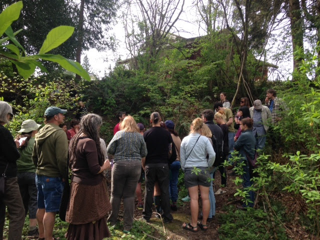 Abe Lloyd leading plant walk at Chuckanut Center April 2016