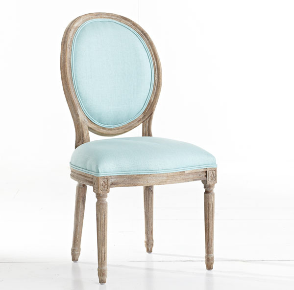 louis chair oval back aqua light blue