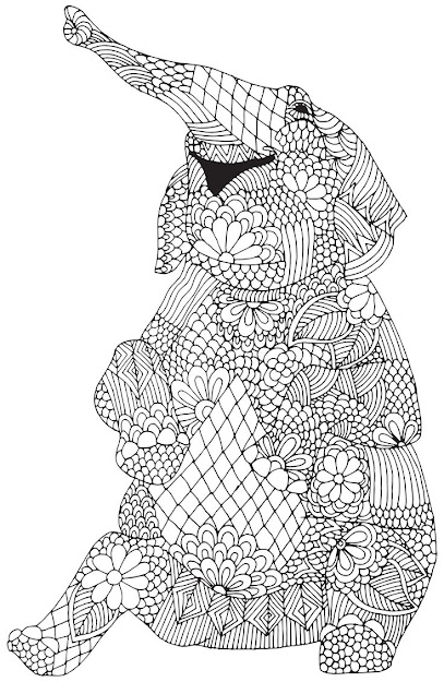 This Would Be Fun Colouring Project Happy Elephant From Awesome  Animals Abstract Doodle Zentangle Coloring Pages Colouring Adult Detailed  Advanced