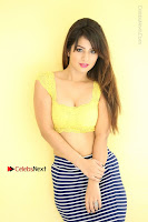 Cute Telugu Actress Shunaya Solanki High Definition Spicy Pos in Yellow Top and Skirt  0166.JPG