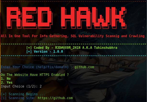 RED HAWK: All In One Tool For Information Gathering, SQL Vulnerability Scanning And Crawling