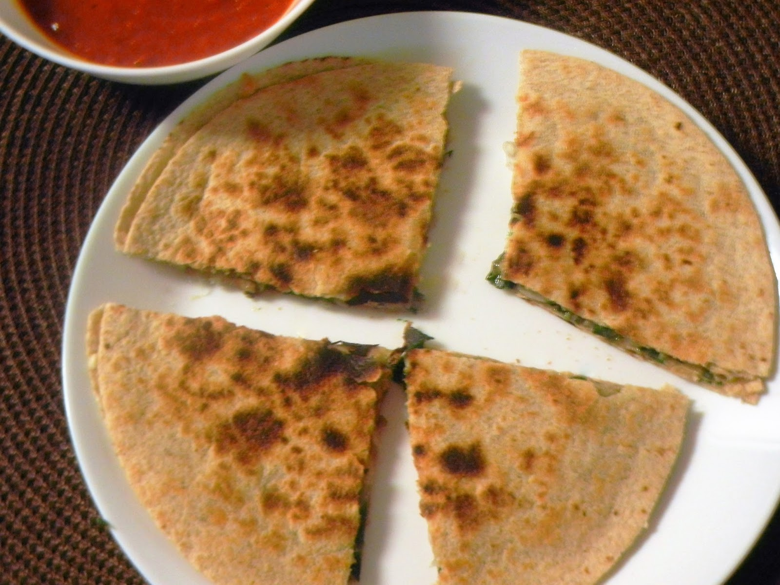 Gitas kitchen a blog for indian diabetic recipes and healthy recipes spinach and mushroom quesadillas with whole wheat tortillas forumfinder
