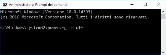 Windows 10 - Disattivare ibernazione da prompt