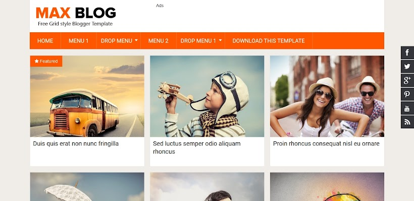 Max Blog Free Blogger Template