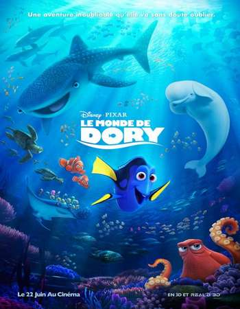Poster Of Finding Dory 2016 ORG Dual Audio 450MB BRRip 720p ESubs HEVC Free Download Watch Online downloadhub.in