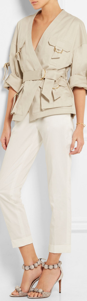 BALMAIN Belted Cotton-Blend Gabardine