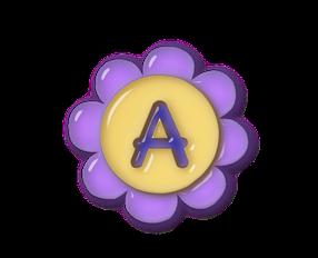 Alfabeto en Flores Moradas de Plástico.