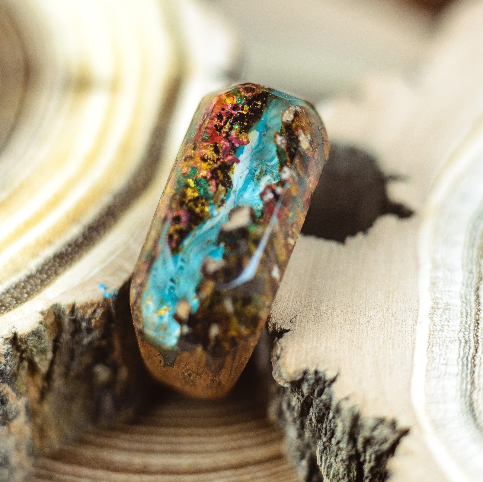 Wood Resin Ring Mountain River Personalized Resin Ring Handmade