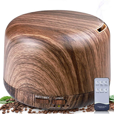 ALOVECO 300ml Wood Grain Aroma Diffusers for Essential Oils Humidifier with Remote