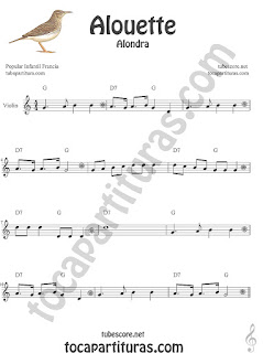 Violín Partitura de Alouette (Alondra) Canción infantil Sheet Music for Violin Music Scores