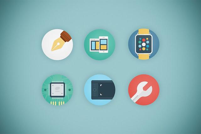 تحميل مجموعة ايقونات للموشن جرافيك بالوان فلات مفتوح قابل للتعديل Web Agency Flat Icon Set PSD