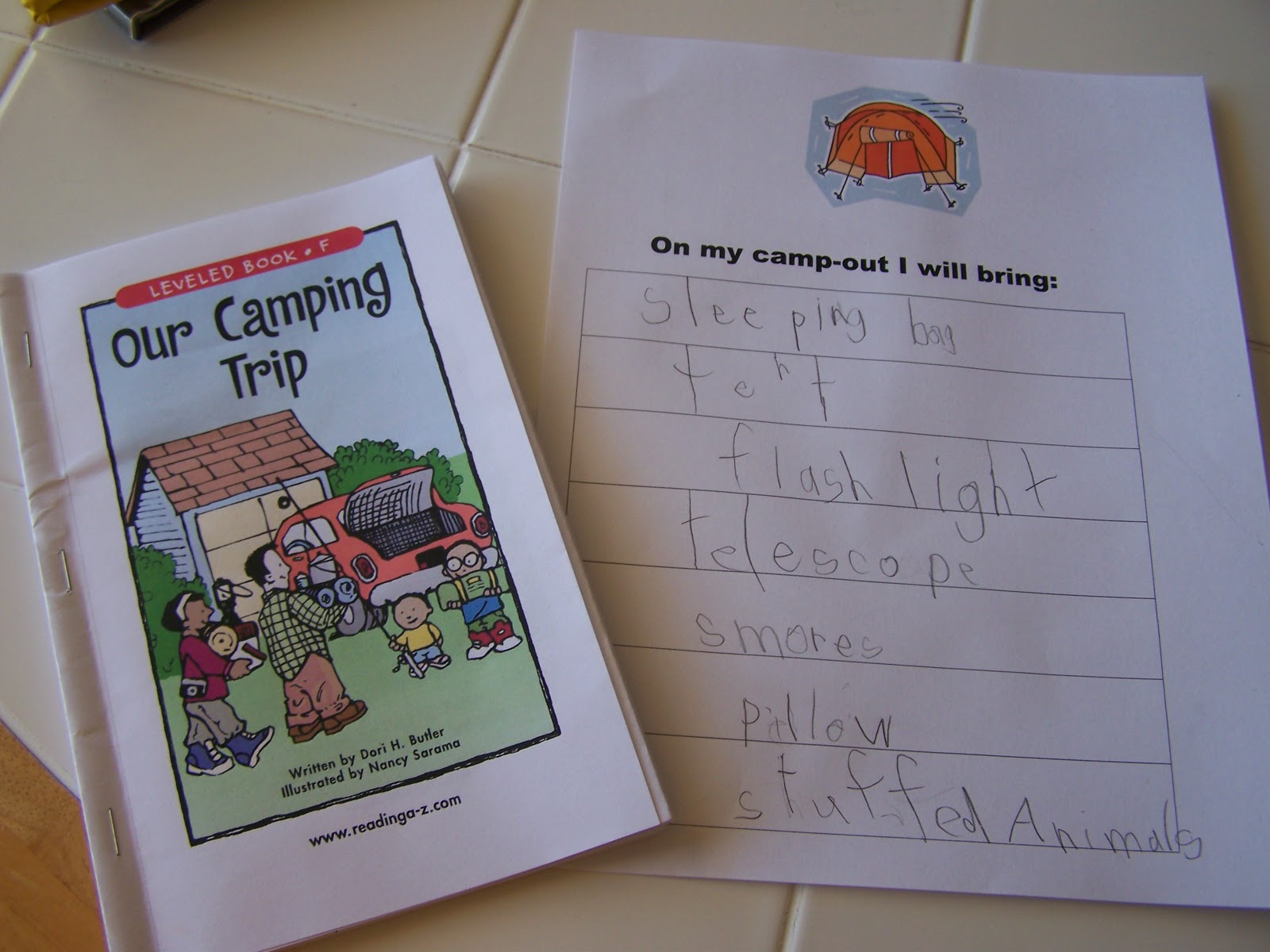 Walnut Hill Homeschool First Grade Reading Camping Week