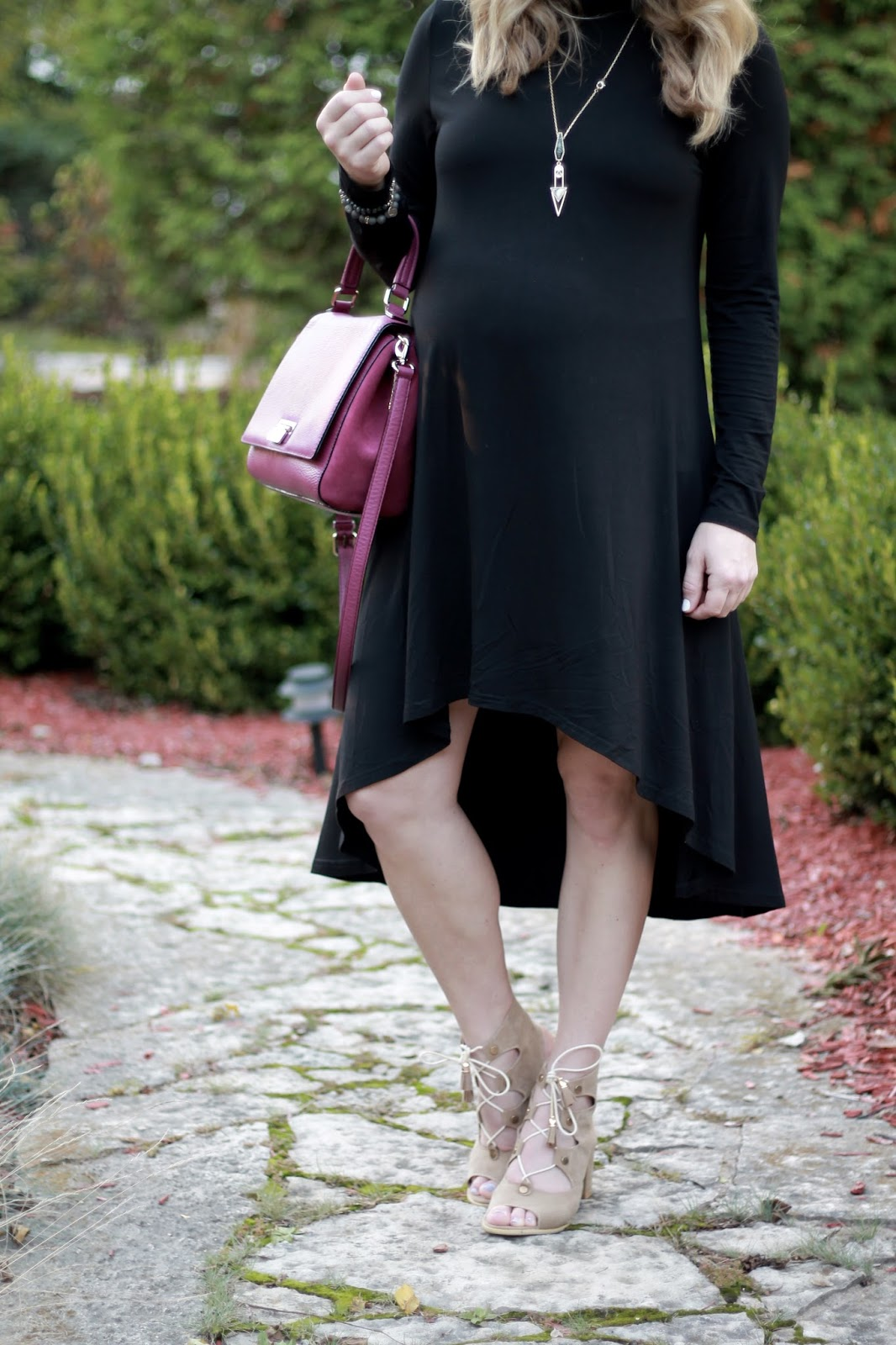 black hi lo dress, lace up taupe sandals, Kate Spade berry bag, fall maternity outfit