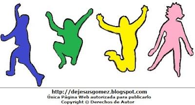 Silueta de jóvenes saltando por el Día de la Juventud o por el Día Internacional de la Juventud. Dibujo de siluetas hecho por Jesus Gómez