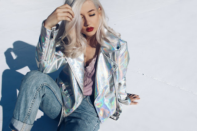 holographic jacket outfit
