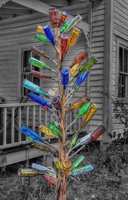 Manualidades con botellas recicladas de vidrio - Arreglar jardin abandonado ...
