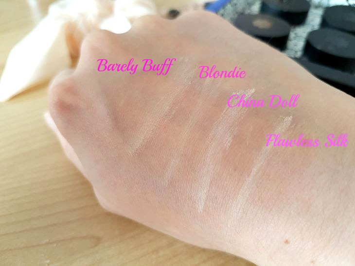 swatch fonds de teint barely buff, blondie, et china doll de lily lolo