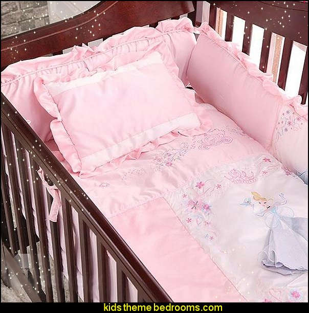 Pink Princess Theme 7-Piece Cotton Baby Crib Bedding Set