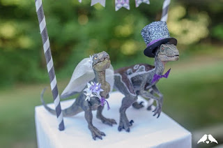 Pretty Awesome Dinosaur Wedding Cake Topper