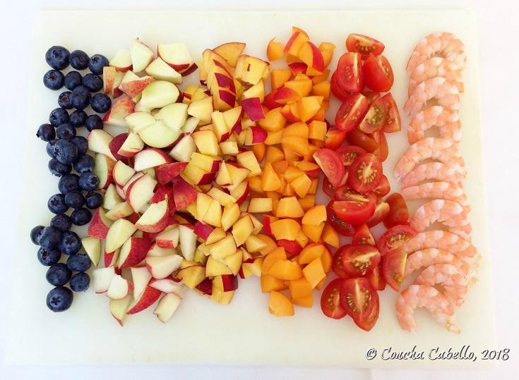 arándanos-fruta-langostinos