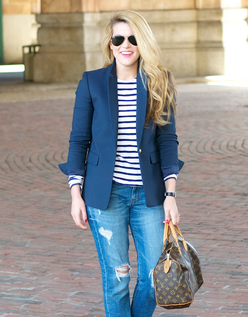 navy blue blazer, striped shirt, and distressed denim with Louis Vuitton Speedy 30