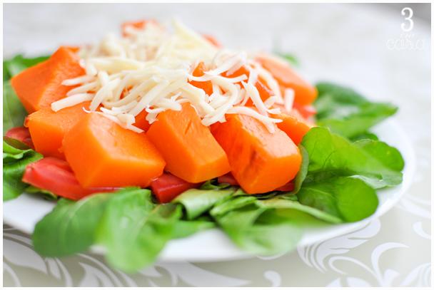 salada de abóbora com rúcula