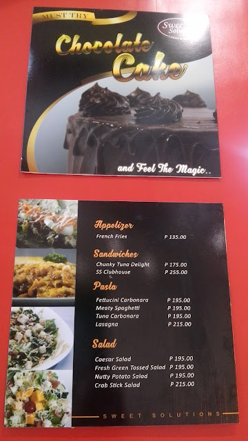 Sweet Solutions Cakes & Cafe price list
