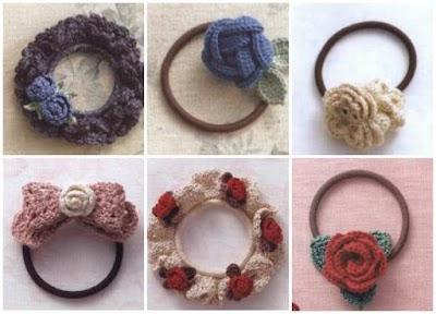 Sujeta-cabellos coleteros de crochet gráficos