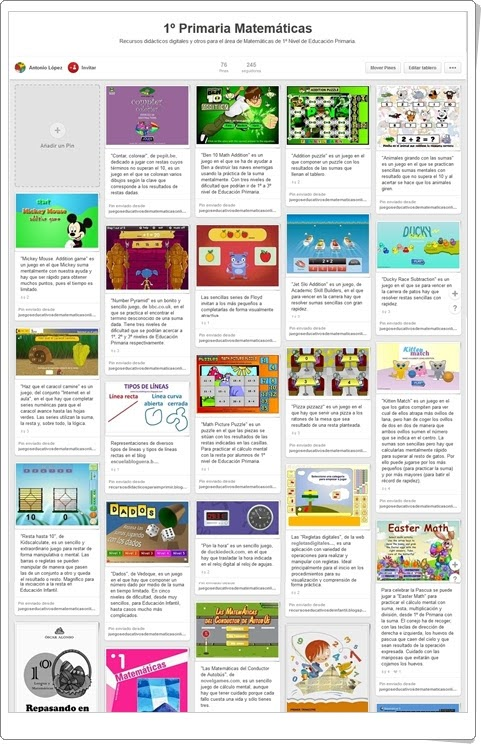 """""""Conjunto de juegos y actividades de Matemáticas de 1º de Primaria"""""""