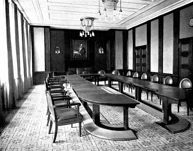 a 1910s boardroom design by Peter Behrens