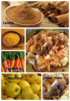 Canela, curry, manzana, zanahoria y uvas pasas