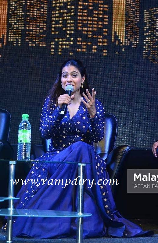 Kajol wearing Tamanna Punjabi Kapoor for VIP 2 Press meet and greet
