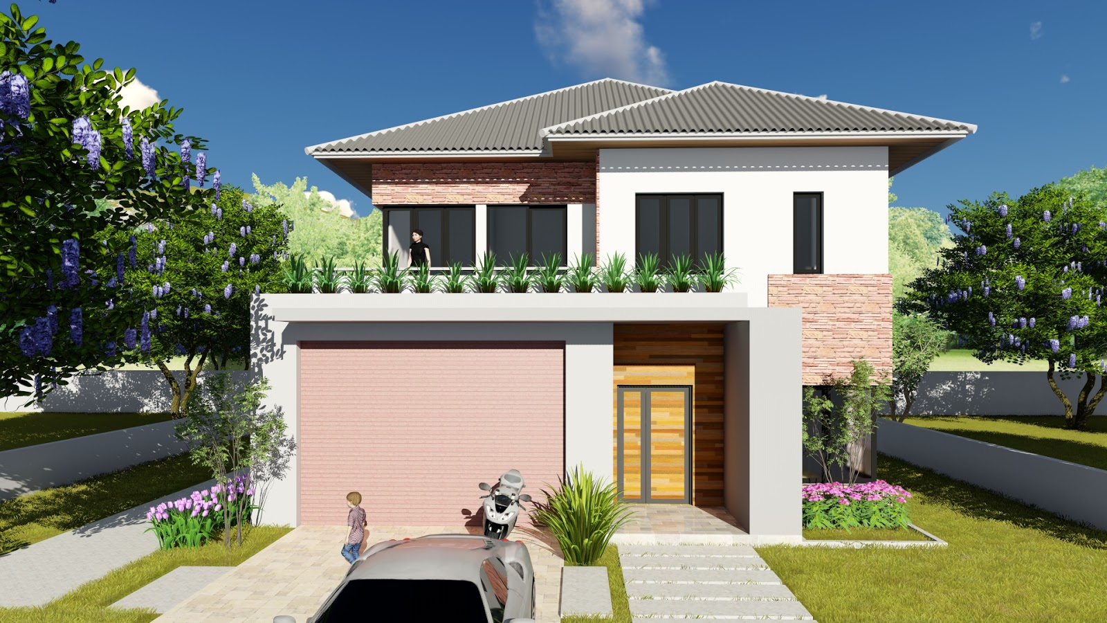 Sketchup Villa Design 11x13m Two Stories House With 3 Bedroom