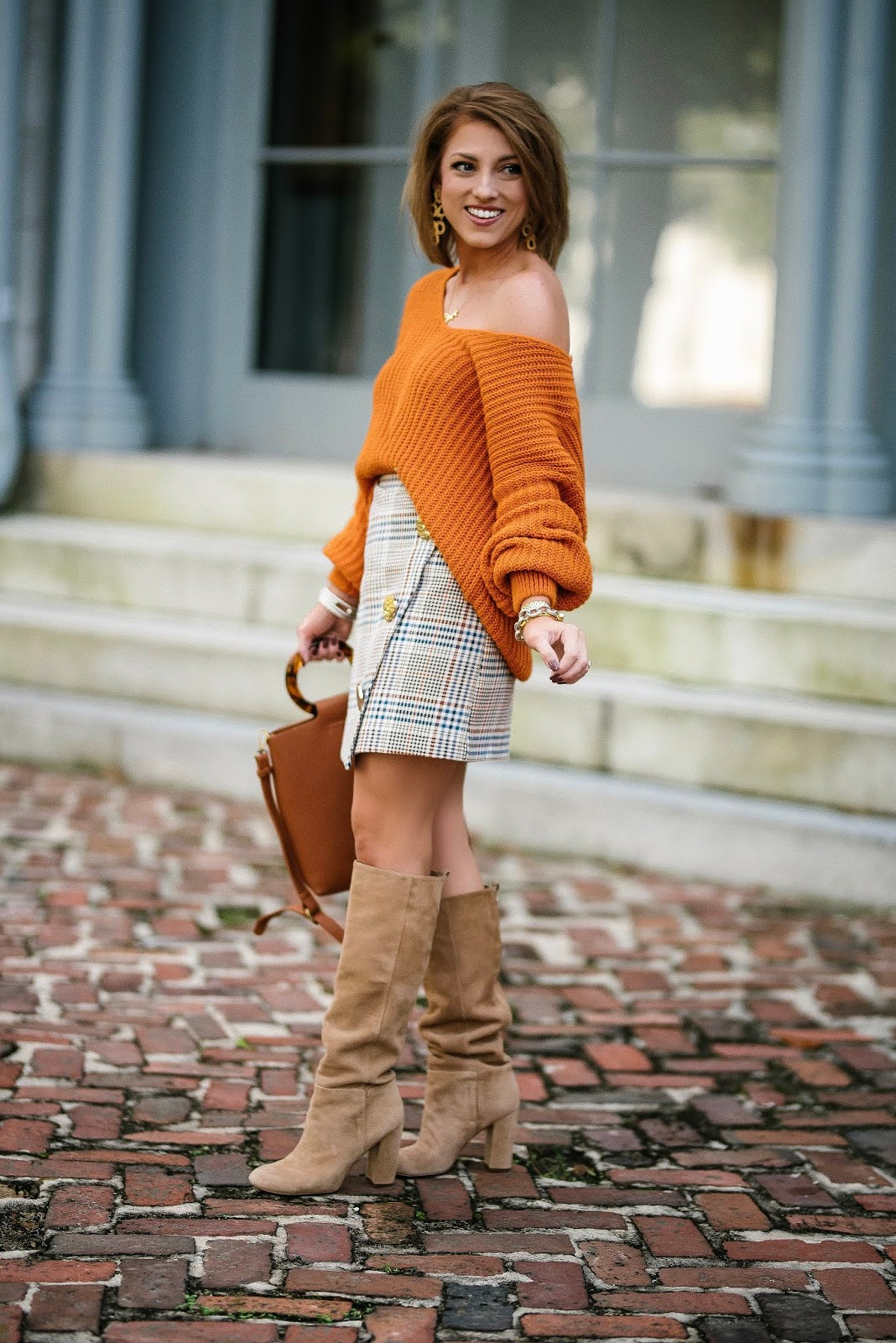Under $60 Plaid Faux-Wrap Skirt for Fall + Slouchy Orange Sweater - Something Delightful Blog