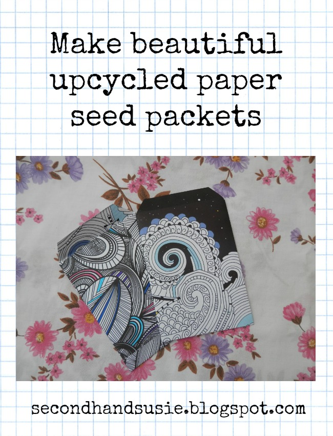 Make your own upcycled paper seed packets. secondhandsusie.blogspot.com #gardening #seedsaving #seedpackets #upcycled