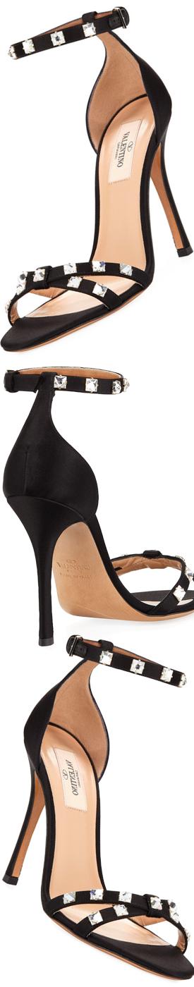 Valentino Garavani Rockstud Glam Satin City Sandal, Black