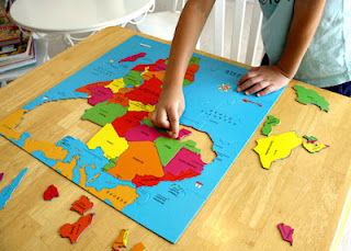 One thing we really like about GeoPuzzle is that nearly every country gets its own puzzle piece. Tessa thought it was funny when she got to the country of Chad. My brother-in-law's name is Chad. She thought maybe he was born there.