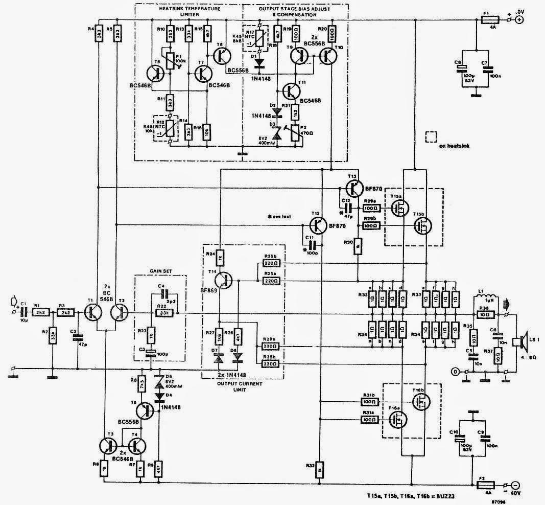 60W, 100W, 150W, 250W Power Amplifier Circuit