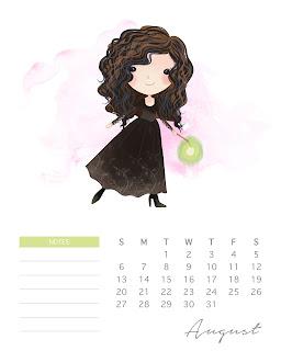 Calendario 2017 de  Harry Potter para Imprimir Gratis  Agosto.