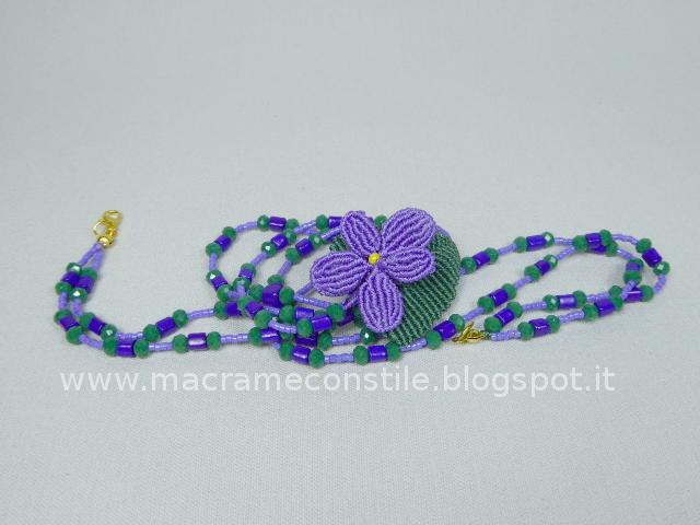 MACRAME violetta con perle